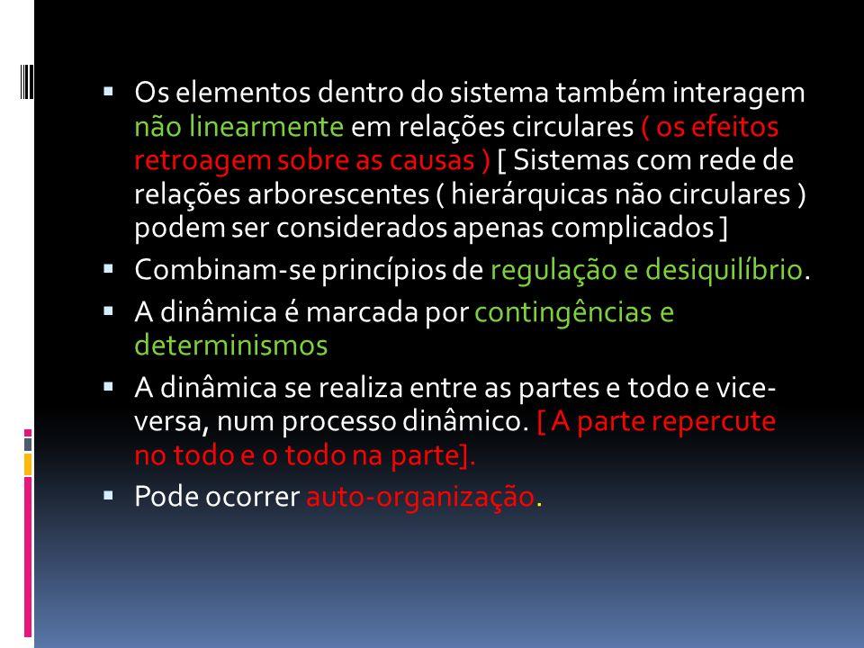 Os elementos dentro do sistema também interagem não linearmente em relações circulares ( os efeitos retroagem sobre as causas ) [ Sistemas com rede de relações arborescentes ( hierárquicas não circulares ) podem ser considerados apenas complicados ]
